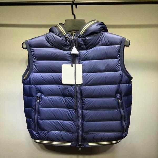 2019 Yeni Sıcak Satış Moda Fermuar Lüks Ceket Rüzgarlık erkek Üst Yelek Kapşonlu Katı Renk Yelek Kalın Aşağı Sıcak Tasarımcı Ceket Boyutu 1-5