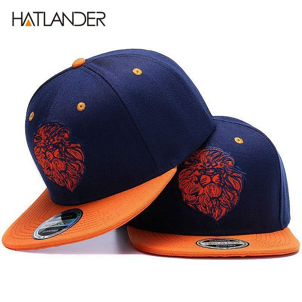 High quality lion face embroidery snapback cap cool king hip hop hat for boys and girls #17517