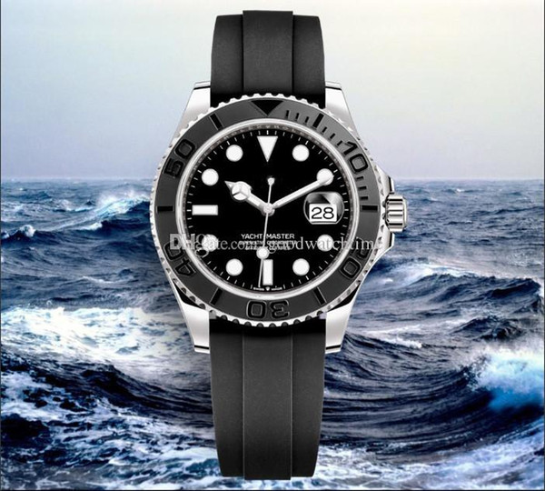 2019 luxo mens relógio de mergulho 226659 YACHT MASTER moldura de cerâmica 42mm pulseira de borracha automática mecânica mens aço inoxidável relógio de pulso presente