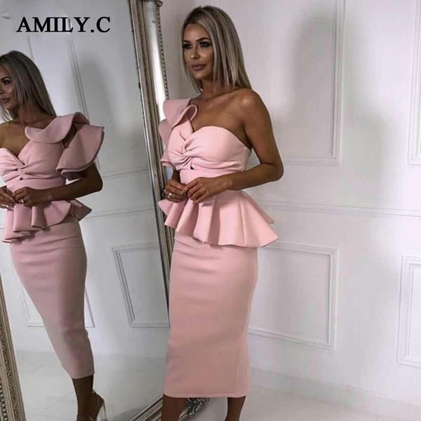 Amily.c 2018 новая весна женщины одеваются сексуальные Bodycon без бретелек рябить шикарный знаменитости ну вечеринку черный розовый красные платья оптом Vestidos Y190427