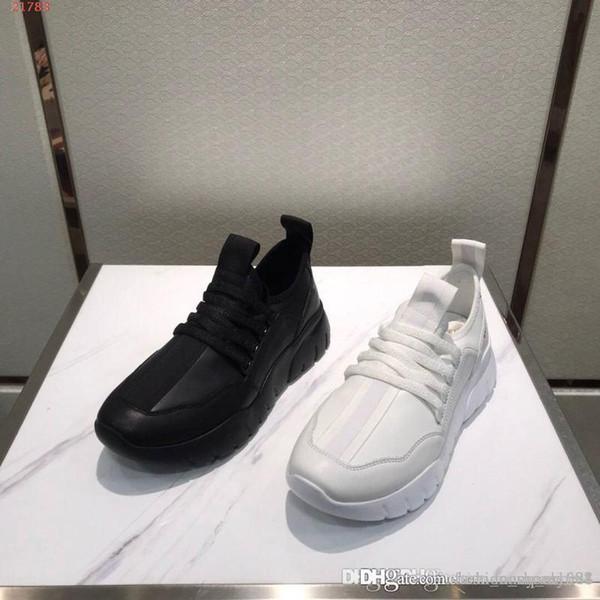 Calzado de hombre, diario casual, cuero deportivo de fondo grueso, simple y transpirable. Zapatos de tendencia sólidos en blanco y negro.