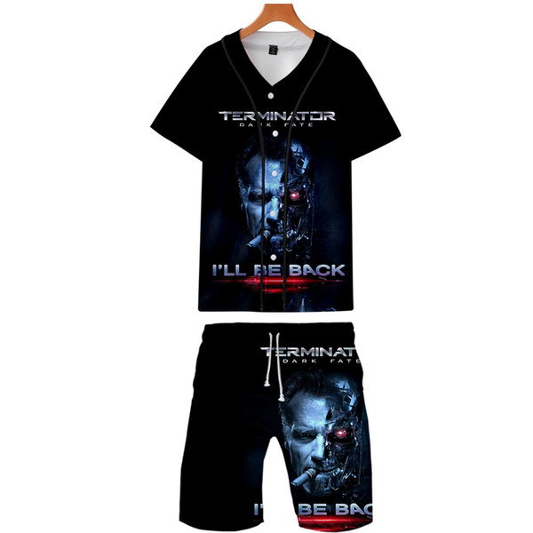 Dark Fate Mens Summer Suits Fashion 3D Button Tracksuits One Piece Designer Baseball Sports Sets Shorts Casual Outfits