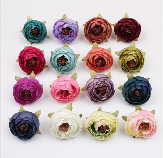 16 Colores Té Rose Bud 5 cm Peonía Falsos Ramos de Novia Seda Flores Cabeza Decoración Del Partido Decoración de Jardín