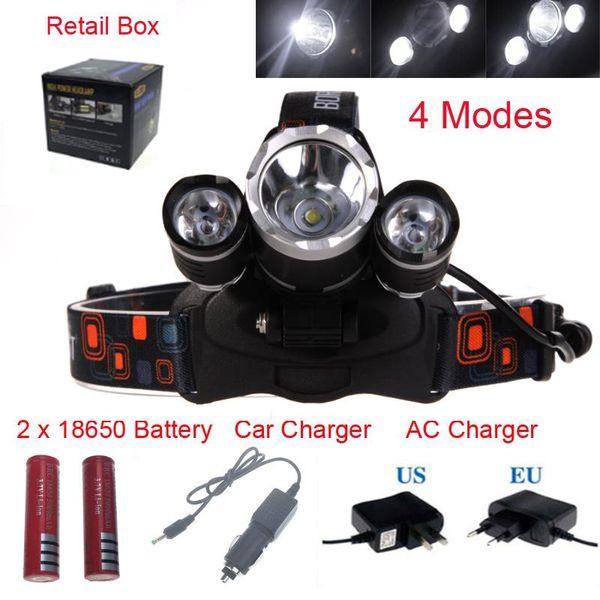 precio 8000 Lumen T6 + 2R5 Boruit Head Light Headlamp Lámpara de cabeza de luz para exteriores HeadLight Recargable por 2x 18650 Batería Pesca Camping
