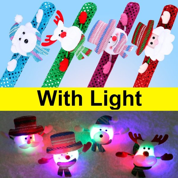 Lighted Flash Chrismas Patted Circle Christmas Bracelet Gifts New Year Party Children's Toys Santa Wrist Clap Circle Snowman Elk Snap Ring