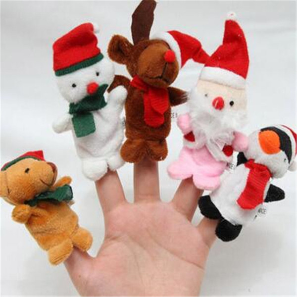 Finger Puppets Christmas Animal Baby Plush Educational Toy Kid Talking Props Multi Function Educational Toys DHL Free