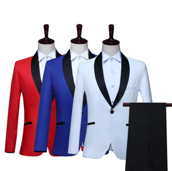 White red blue Blazer men groom suit set with pants mens wedding suits choir singer star style stage clothing formal dress