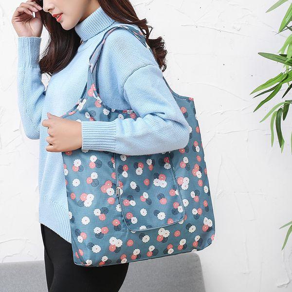 Fashion designer flowers folding shopping handbag waterproof large capacity supermarket tote bag women shopping shoulder bags