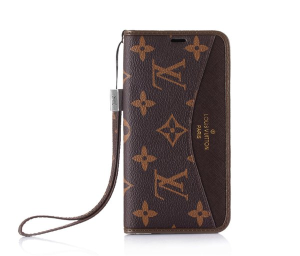 Classic Branding Leather Wallet Case for Apple iPhone XS Max/XR 8/7/6 Plus with Card Holder Flip Kickstand Bumper for Women Girls