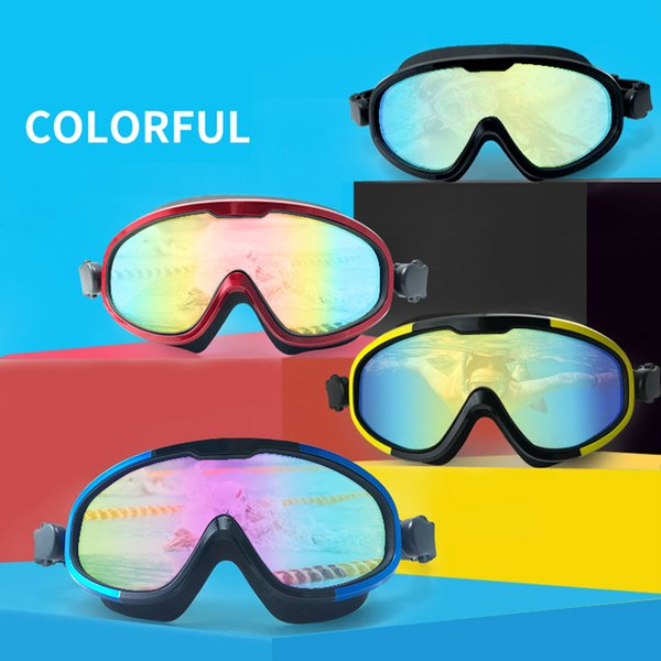 top popular Anti-fog glasses goggles for Diving Swimming Men Women Professional Soft Silicone Swim Eyewear Uv400 Big Frame Swim Goggles 2021