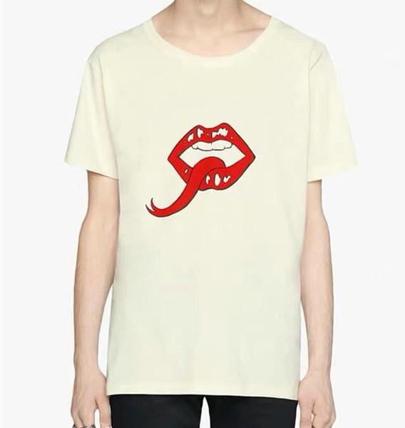 Yaz Tasarımcı Lüks Erkekler gömlek Moda avrupa basit klasik mektup dudak ağız T Gömlek Gündelik pamuk krem renk tee üst T-shirt