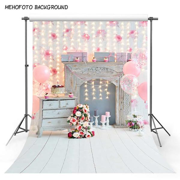 MEHOFOTO Thin vinyl photography background pink balloon new born baby birthday theme photo backdrops for photography studio