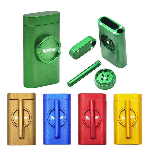 Creative Style Tobacco Crusher Set With Smoke Pipe Aluminum Alloy Grinder Tobacco Pipe Metal Dugout