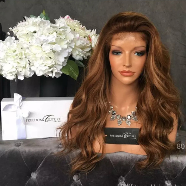 180% Density Long Wavy Wigs with Natural Hairline Synthetic Lace Front Wigs for Women Black Blonde Ombre Color Big Wave Lace Wig
