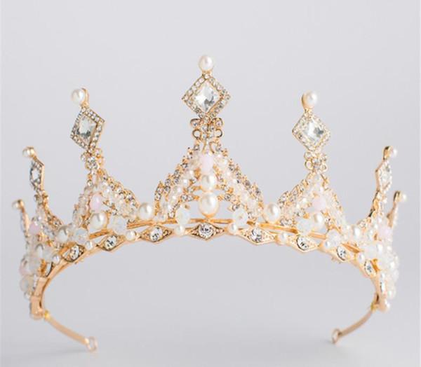 Großhandel Goldene Europäische Kristall Königin Braut Kopfschmuck Krone Prinzessin Kopfschmuck Hochzeit Haarschmuck Hochzeit Kleidungsstück Zubehör