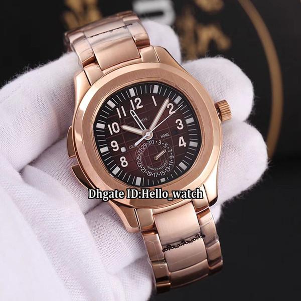 Yeni Spor Tarihi Aquanaut 5164R-001 GMT İkili Zaman Ekstra Büyük Kahverengi Dial Otomatik Erkek İzle Gül Altın Çelik Bilezik Gents Saatler
