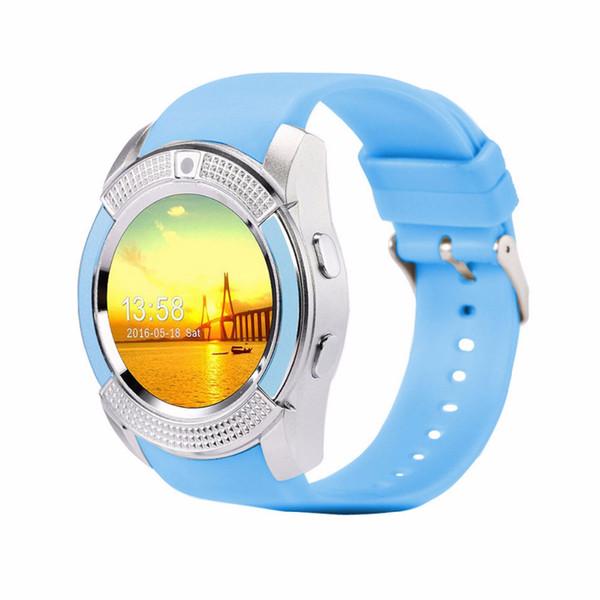 Smart V8 Watch Bluetooth Life Waterproof Smartwatch Touch Screen Wrist Watch with Camera/SIM Card Slot Blue