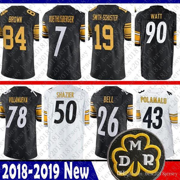 06fff0e0d Pittsburgh 19 Juju Smith-Schuster Steelers Jersey 84 Antonio Brown 50 Ryan  Shazier 90 T.J. Watt 7 Roethlisberger 26 Bell Bradshaw Villanueva
