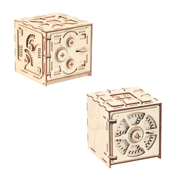 Puzzle Wood Storage Case Saving Money Box Code Design Mechanical Drive DIY Craft Assembly Kids Educational Toys Building Blocks