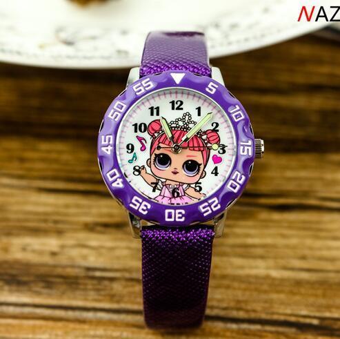 Moda fumetto dei capretti vigilanza sveglia LOL ragazza orologi Jelly childrens della ragazza del ragazzo studenti cinturino in pelle orologio da polso Pink Girl Clock