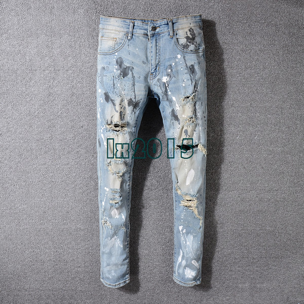 New designer Mens Painter Distressed Hollow Out Pants Flares Patches Blue Denim robin jeans Slim biker Trousers fear of god jeans for men