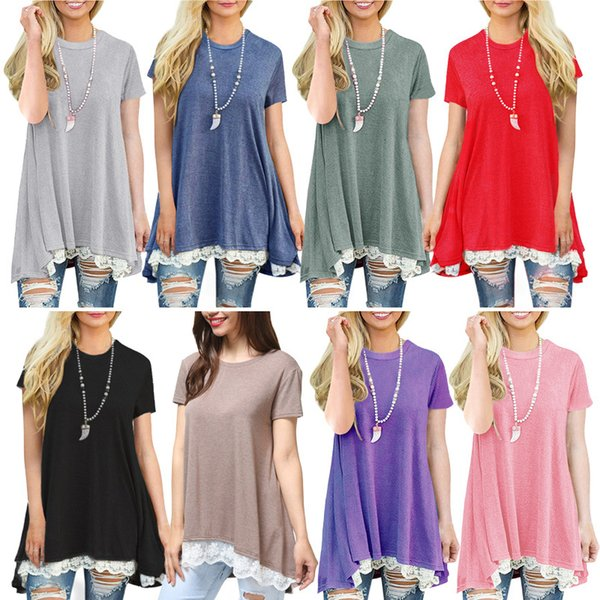 New Maternity Clothes 2019 New Summer Lace T Shirts Dresses for Pregnant Women Short Sleeve Big Sweep Plus Size Wholesale 11 Colors B11