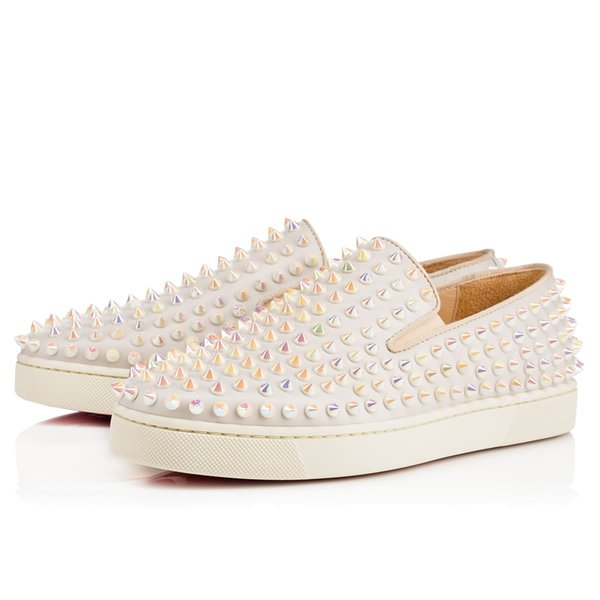 Novas inferior vermelha do desenhador Mens Womens Sneakers ao ar livre Sapatos de festa vestido de alta corte Studded Spikes Plataformas de Formadores Shoes Sneaker -42