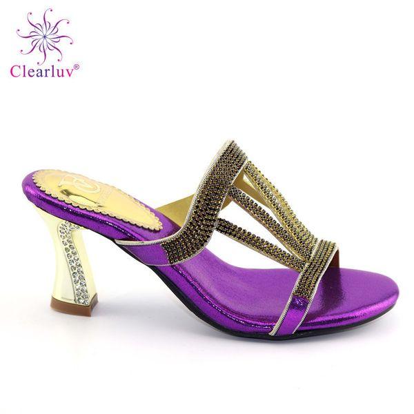 High Heels Big Pumps Stability Nigerian Shoes Women Shoes Slipper Nice Design High Quality With Rhinestone Fashion Design Shoes