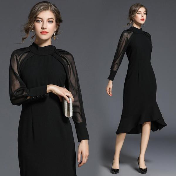 Mulheres Evening Midi vestido elegante sereia Preto manga comprida gola do vestido OL clássico Escritório das senhoras Daily Business Formal Primavera DHL grátis