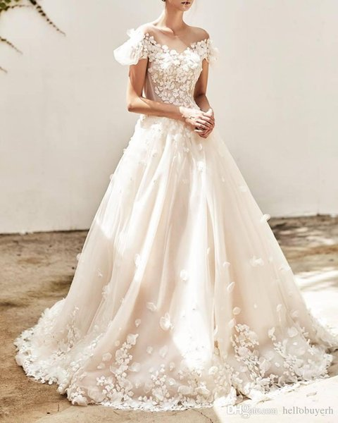 A Line Sweetheart Beach Plus Size Wedding Dresses Off Shoulder With Flowers 2019 White Zuhair Murad Dresses Bridal Gowns African Sweetheart