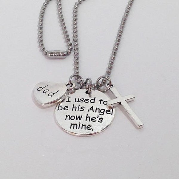 Wings Cross Necklace Key Chain Letter Print Heart Necklaces Personalize Keychain Fashion Silver Necklace For Women Men Gift DBC VT1744