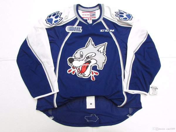 Cheap custom SUDBURY WOLVES OHL PRO CCM HOCKEY JERSEY stitch add any number any name Mens Hockey Jersey XS-6XL