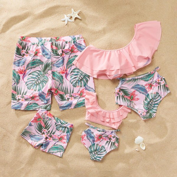 2019 Summer Mother Daughter and Father Son Swimsuit Bikini Clothing Sets for Family Matching Swimwear Clothes Outfits