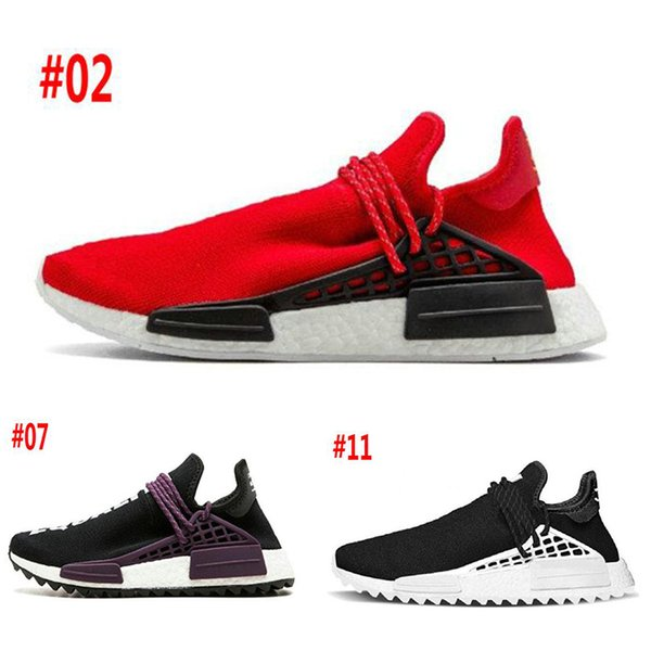 top popular Hot Race Human X HU HUMAN RACE SPIECES Running Shoes Mens Quality Trainer Footwear Sports Shoes Women Sneakers Pharell Williams size 36-45 2019