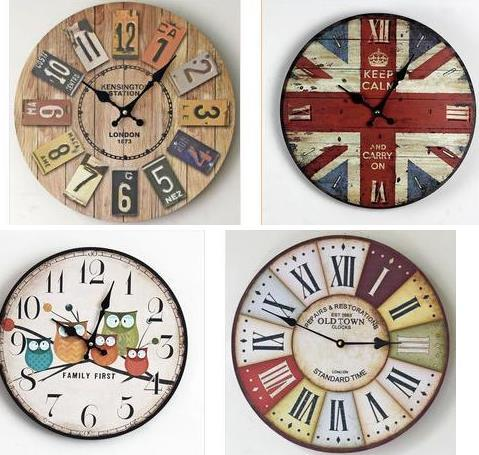 Antique Wooden Wood Needle Wall Clock Round Clocks Rustic Home Bedroom Living Room Decor Chic Gift
