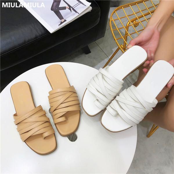 MIULAMIULA Créateurs de Marque 2019 Été Nouvelle Mode Bande Étroite Bottes de Cuir Plat Slipper Sur Mocassins Mules Chaussure Femme Tongs