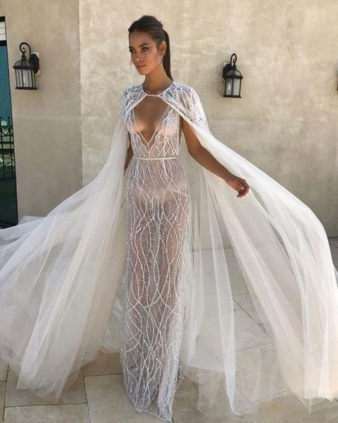 Elegante 2019 Jaqueta De Casamento Marfim Branco Nupcial Bolero Jaquetas De Casamento Top Lace Manga Comprida Jóia Pescoço Envoltório De Casamento