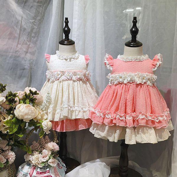 Espagne Design fille vêtements filles Enfants sans manches tissage jacquard dentelle dentelle fleurissent robe 100% coton exquis robes d'été princesse