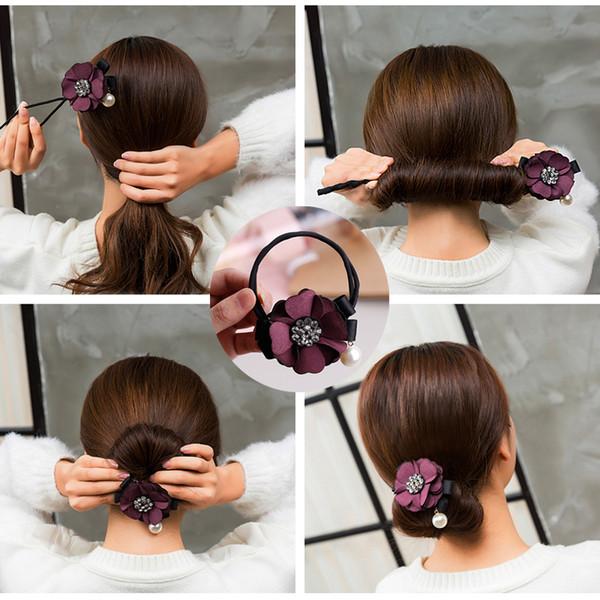 NEW arrival Women Hair Accessories Elegant Rhinestone Flower Pearls Hair Curls Bun Maker Floral Headband Ribbon Hair Making Tool