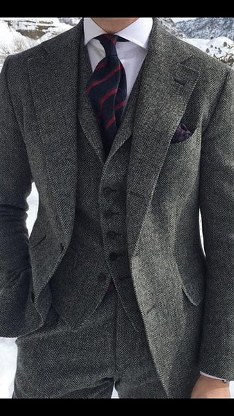 2018 latest coat pant designs grey man suit for business wedding tweed custom blazer classic jacket slim fit formal 3 pieces C19011601