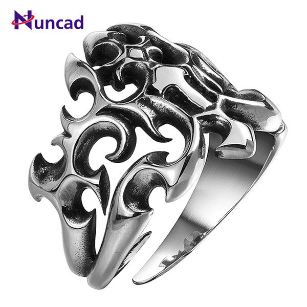 New Vintage Hollow Mens Punk Jewelry Stainless Steel Gothic Rings Championship Rings Decoracion fiestas Free Shipping C18122501