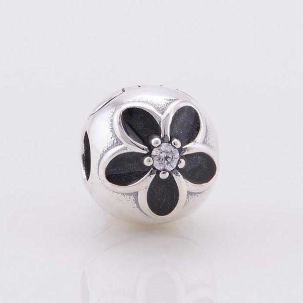 Pandulaso 925 joyería de plata esterlina negro flor del esmalte clip tapón encanto se adapta a los encantos de plata collar de la pulsera para las mujeres di