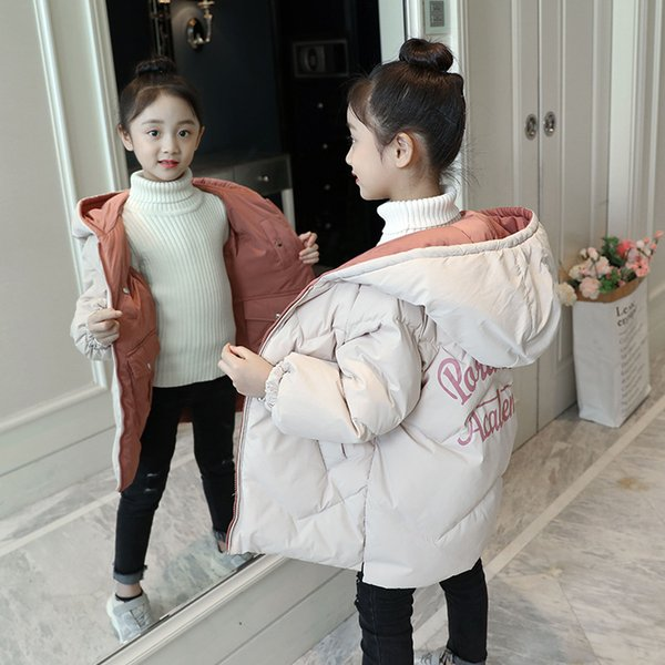 Both Sides Can Wear Winter Girl Jacket Coat New Children Outerwear Girls Parka Kids Clothes Casual Long Hooded Jackets For Girls