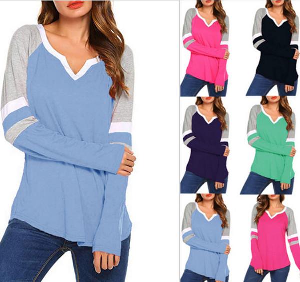 S-5XL Mulheres Listradas T Camisas Patchwork Sólida T-shirt Blusa de Manga Longa Pullover Com Decote Em V Camisa Casual Blusas de Grandes Dimensões Das Senhoras Tops Tees 2019