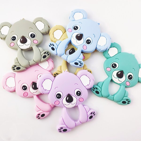 Koala Infant Teethers Teething Pendant Food Grade Silicone Teether Nursing Aide Pacifier Clips Baby Toy Chew Pendant Gift GGA2618