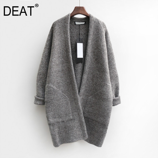 [deat] 2019 new spring long sleeve warm down knitted sweaters pockets open stitch temperament jacket women parkas fashion jz626