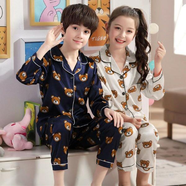 2pcs crianças Bebés Meninos Meninas Silk Pijamas Set Outono Inverno manga comprida impressos Animais Pijamas Crianças da menina do menino Roupa de dormir Roupas