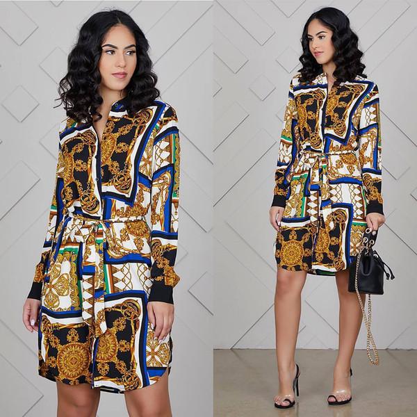 Luxury Gold Women Spring Clothes Summer Formal Casual Abiti corti Designer con cintura sciolto Mini abito camicia