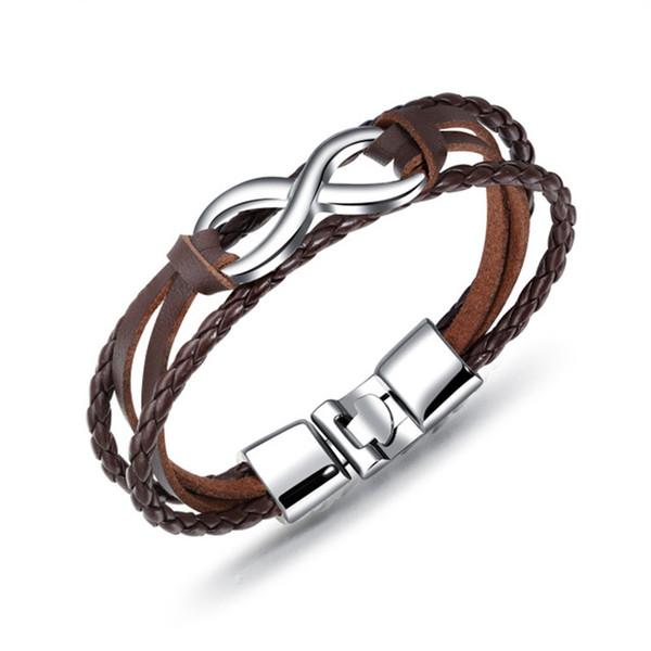 Braccialetto di cuoio intrecciato degli uomini di fascino di modo Braccialetto a più strati d'annata del braccialetto di simbolo di infinito per i gioielli maschii