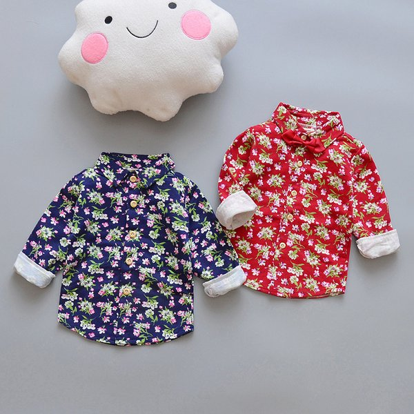 Spring Autumn Children Boy Girl Cotton Customs Baby Full Sleeve Shirt Print Flower Kids Fashion Tops Toddler Clothes For 0-4 Yrs